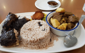 image of food from mark's kitchen, rice with a meat and a potato/meat soup