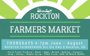 Poster advertisement for Rockton Farmers Market   Top Local Destinations To Visit This Summer on The Dumfries Summer Trail
